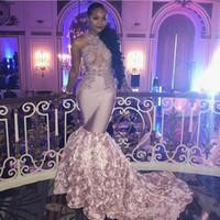 laço aberto do busto venda por atacado-Empoeirado Rosa Africano Sexy Prom Dresses Longo Busto Aberto flores Long Train apliques rendas Sereia Vestido de Noite Meninas Negras Vestidos de Festa Formal