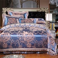 Wholesale Discount Bedspread Sets - Luxury Bedding set jacquard Satin Silk 100% cotton bed sheet set Home Textile duvet cover bedclothes bedspread discount