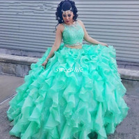 Wholesale Turquoise Silver Prom Dresses - Two Piece Lace Turquoise Quinceanera Dresses With Beaded Crystal Organza Ball Gowns Sweet 16 Gowns Corset Formal Dress for 15 Year Prom 2016