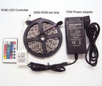 rgb uzaktan güç kaynağını kaldırıyor toptan satış-DC12V 5050SMD 5 M RGB LED Şerit Sigara su geçirmez Tatil Noel + 110 v LED Güç Kaynağı 6A Işık Adaptörü + 24 Anahtar RGB IR Uzaktan Kumanda