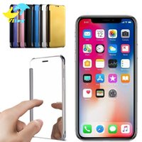 Wholesale Iphone Leather Case Screen - Electroplate Clear Smart Mirror View Flip Cover Sleep wake Phone Case Screen Protector For Iphone 8 X Note8 S6 edge plus S7 edge S8 plus