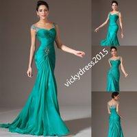 Wholesale Black Dress Size 22 24 - Beaded Peacock Cap Sleeve Mermaid Trumpet Chiffon Party Prom Formal Evening Dress Custom Size 2 4 6 8 10 12 14 16 18 20 22 24 26 28