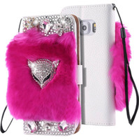 Wholesale Cover Grey Hair - Bling Diamond Rabbit Hair Fur Flip PU Leather Wallet Stand Cover with Fox Head for Iphone 5s 6plus 7 7plus 8 8plus Samsung S8 S8 plus