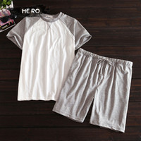 Wholesale Korean Leisure Styles Cotton Shirt - Wholesale-New summer cotton short sleeve + shorts pure color leisure and comfortable homewear sets male Korean style pajama sets for men