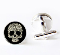 Cuff Links black skull cufflinks - dark skull cufflinks gold sugar skull cufflinks Custom cufflink Father of the grooms cuff links