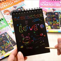Дети Rainbow Fun DIY Doodling Magic Scratch Painting Paper Book Crildren Learning Education Toys Notebook Gift