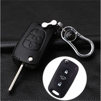 Car Leather Bag Remote Control Car Keychain Chave Cover Case para Kia K2 / K5 / Sportage 3Button Flip Key Metal Keychain S74