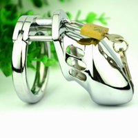 Wholesale Bondage Padlock - Top Quality Stainless Steel male padlock chastity device BDSM bondage Small Metal cock cages Virginity Lock Penis Ring Adult Sex Toys