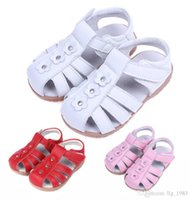 Wholesale Wholesale Little Girl Sandals - New Handmade Toddler Little Girls Sandals Sweat Absorbing Anti-slip Genuine Leather Toe Protection Beathable Soft TPR Sole Anti-friction