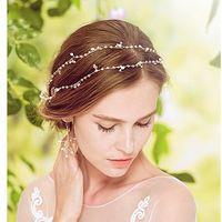 Wholesale Halo Tiara - Elegant Crystal Hair Accessories Fresh-water Pearl Tiaras Hairband Halo Hair Wedding Handmade Bridal Hair Accessories De Cabelo Christmas