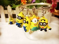 Wholesale Despicable Ring - 052002 2015 Hot Sale 3D Despicable Me Minion Action Figure Keychain Keyring Key Ring Cute Mix order 10 styles DHL freeShip from bond50 500PC