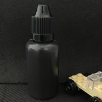 wenig öl flasche großhandel-30 ml schwarze Farbe E-Flüssigkeitsflasche 30 ml PE-Nadel-Tropfflaschen aus weichem Kunststoff mit langen, schlanken Spitzen für Vape-Saft leeren