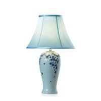 Wholesale pastoral table lamps resale online - OOVOV Pastoral Flowers Bedroom Table Lamp European Resin Fabric Living Room Princess Room Desk Lamps Blue