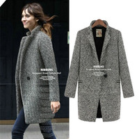 Wholesale Girl Elegant Coats - 4041autumn winter 2016 girl women fashion elegant plus size woolen coat jacket ladies houndstooth jackets coats overcoat S-4XL free shipping