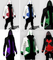 Wholesale Men Hot Costume - Hot Sale Assassins Creed 3 III Conner Kenway Hoodie Coat Jacket Anime Cosplay Assassin's Costume Cosplay Overcoat
