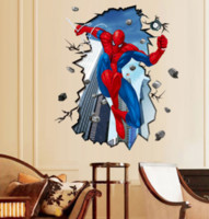Wholesale Spider Man Wall Stickers - Spider Man Bedroom Wall Stickers Are Removable Wall Stickers Green Background 3D Stickers Wholesale