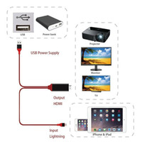 usb hdmi conversor full hd al por mayor-Cable HDMI Full HD 1080P relámpago USB a HDMI Adaptador Convertidor de teléfono móvil Cable digital para teléfono de apple con paquete 50pcs / lot mayorista