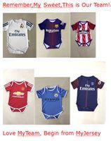 Wholesale Small Boy Shorts - 2017 Real Madrid Man U baby jersey 1--2years old Baby jersey Psg Famous teams Little kids shirt Kids Football Boys Girls Small kit