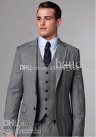 Wholesale Light Grey Suit Purple Tie - Sell like hot cakes!Classic Design Light grey Notch Lapel Groom Tuxedos Best Man Suits Groomsmen Men Wedding Suits (Jacket+Pants+Vest+Tie)