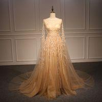 Wholesale Hand Made Shawl - real photos Sadai Arabia Turkey Pakistan crystals gold shawl wedding dresses 2018 heavily embroideried chapel train bridal wedding gowns