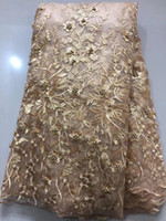 Wholesale Wholesale Fabric Sewing Material - Promotion new African lace fabric best quality french beige color embroidered material with more beads for sewing wedding dress