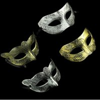 Rétro Masque Romain Masquerade D'Halloween Hommes Masque Jazz Moitié Visage Masques Argent Or Halloween Party Supplies 4 Styles YW214