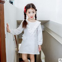 Wholesale Yellow Linen Girls Dress - Girls cotton dresses kids falbala princess dress children long sleeve A-linen dress 2017 autumn kids clothes white pink yellow T5067