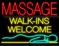 "Wholesale Massage Center - Massage Walk Ins Welcome Neon Sign Custom Real Glass Tube Rlaxation Center Advertisement Health Care Display Sign LED Sign 31""X24"""