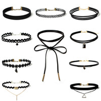 Wholesale Choker Chain Necklaces - Vintage Velvet Chokers Necklace Statement Necklaces Retro Gothic Punk Grunge Black Velvet Tattoo Necklace Stretch Vollar Necklace