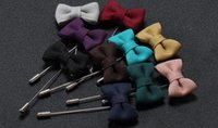 Wholesale Mens Model Korean - Korean explosion models exquisite fashion boxer bow brooch men cloth Mens Suit accessories 10 Colors