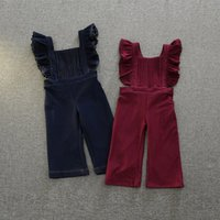 Wholesale Overall Jeans For Kids - Kids Jeans for Girls Clothing 2016 Autumn Denim Korean Fashion Pleated Denim Overalls Long Pants AA-630