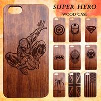 étuis iphone 3d homme achat en gros de-Housse en bois naturel pour Iphone 6 7 Plus Personnaliser Design 3D Gravure Bois Bambou Super Héros Spider-Man Captain America Cases