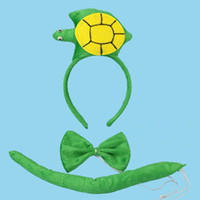 Wholesale Cosplay Bow Ties - Tortoise Headband Bow Tie Tail Cosplay Animal 3pcs Set Kids Adults Halloween Performance Props Party Favors