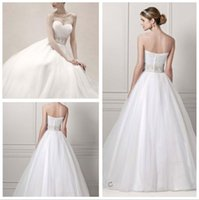 Wholesale Sweetheart Belted Waist Wedding Dresses - 2016 Tulle Ball Gown Wedding Dresses Sweetheart neckline with pleat bodice Crystal belt on the waist and tiered skirts CPK440 gowns