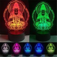 lâmpada de luz de buddha venda por atacado-Buda Cor Mudança Noite Lâmpada 3D Atmosfera Bulbing Office Light Decor ilusão Visual LED para crianças dormindo brinquedo Presentes de Aniversário de Natal
