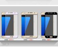 protector de pantalla de gafas templadas s5 al por mayor-Para Galaxy S7 Tempered Glass Samsung S7 Protector de pantalla completa Protector de pantalla de cristal templado RIM colorido