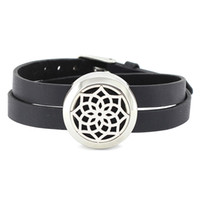 Wholesale Perfume Bracelets - Wholesale 25mm 316L stainless steel twist-off essential oil diffusing perfume locket wrap bracelet locket with leather band