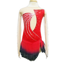 Wholesale Ice Skating Dresses For Girls - Customized Jewel Neck Red Ice Skating Dresses Long Sleeve Spandex Graceful New Brand Figure Skating Dress For Competition
