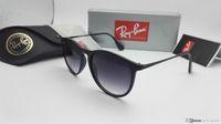 Wholesale Designer Sunglasses Ray Brand - New RAY Sunglasses Erika Men Women Eyewear Fashion Designer Brand BEN Sun Glasses BANS Matt Leopard Gradient UV400 Lenses 4171 Box and Cases