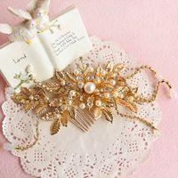 Wholesale Vintage Rhinestone Hair Combs - Vintage Wedding Bridal Headpiece Gold Leaf Hair Accessories Crystal Rhinestone Comb Jewelry Crown Tiara Princess Queen Headdress Pearl Clips