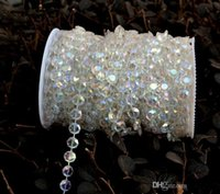 Wholesale Decor Bead Strands - 99 feet Bling shinny Diamond Crystal Acrylic Beads Roll Hanging Garland Strand Wedding Birthday Christmas Decor DIY Curtain