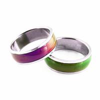 el estado de ánimo suena nuevo al por mayor-Venta al por mayor a granel lote 36pcs 6 mm anillos de joyería de moda de acero inoxidable real multicolor Cambio de color a estrenar Interior pulido