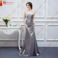 Wholesale Chiffon Strapless Short Prom Dresses - 2016 Free Shipping Satin Strapless Floor-Length Off the shoulder vestidos de noiva Bridesmaid dress Prom Gowns or evening dress formal