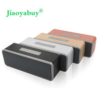 Wholesale radio horn speakers - Wholesale- Jiaoyabuy Portable Bluetooth Speaker Wireless dual horn Stereo Speakers hifi Music Surround Support TF AUX USB Play with FM