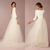 Wholesale Top Skirt Bridal Gowns - Cheap Stunning Winter Wedding Dresses A Line Satin Top Backless 2016 Bridal Gowns with Sleeves Simple Design Soft Tulle Skirt Sweep Train