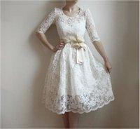 Wholesale Dresses Civil Wedding - Free Shipping ATTRACTIVE Discount New Fashion Casual Civil Vintage 1950s White Beach Summer Baptism Wedding Dress For Juniors