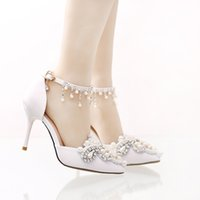 Wholesale Party Shose - Handmade Satin Bridal Wedding Shoes with Rhinestone Buckle Straps Formal Dress Shose Pointed Toe Bridesmaid Shoes Party Pumps