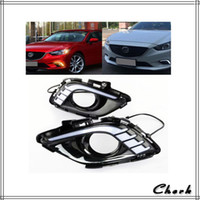 Wholesale Fog Lamp For Mazda - 2pcs Day Light For Mazda 6 Atenza 2013 2014 2015 LED DRL Daytime Running Light With Yellow Turning Signal Waterproof Fog Lamp