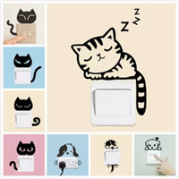 Wholesale Mouse Wall Stickers - Sweet Sleeping Cat Wall stickers Switch sticker living room Bedroom Wall Decals Home Decoration Poster Animal Cat Mouse Switch Decals