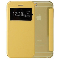 Wholesale Iphone 5s Flip Window - Colorful Slim Leather Transparet Clear Window View Flip Cover Smart Case for iPhone 7 Plus 6S SE 5S Samsung S7 S6 Edge MOQ:10pcs